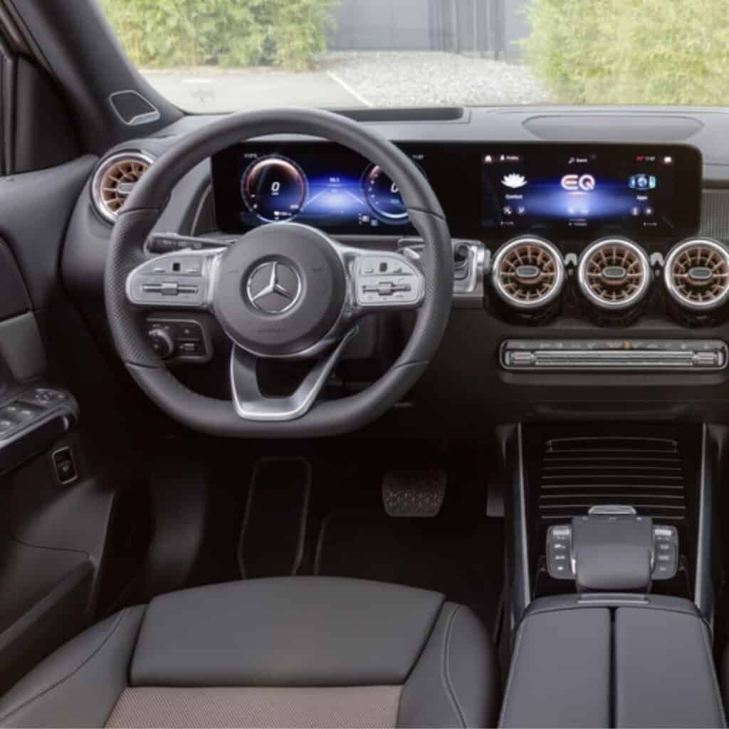 Front interior of a Mercedes-Benz electric vehicle.